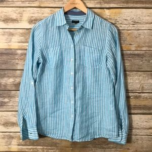 TALBOTS Linen Striped Blue White buttoned top S